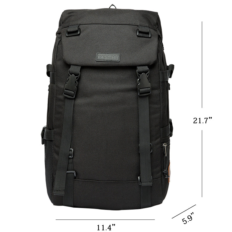 Vaschy Camping Hiking Rucksack Daypack Casual High School Backpack fits 15in Laptop Black