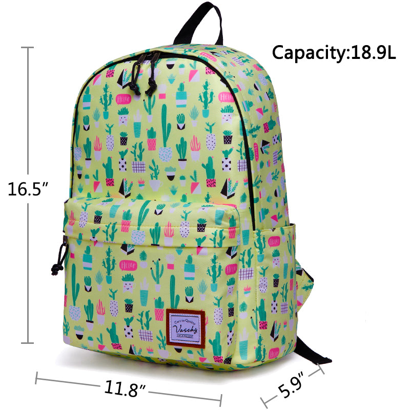 VASCHY Girls Casual School Backpack Cute Lightweight Water-Resistant Daypack Fits 14inch Laptop Yellow Cactus