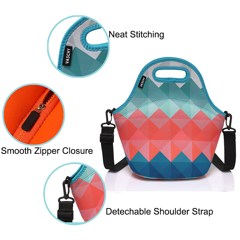 VASCHY Neoprene Insulated Lunch Bag Tote for Men or Women 12.9x13.4x6.3 inch with Detachable Adjustable Shoulder Strap Retro Triangle