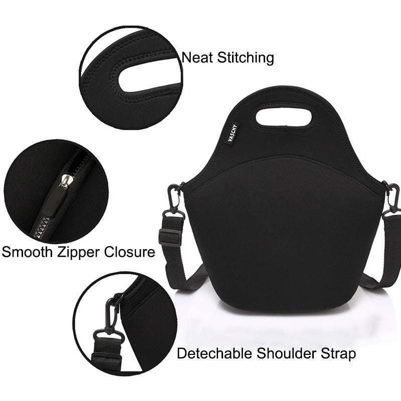 VASCHY Neoprene Insulated Lunch Bag Tote for Men or Women 12.9x13.4x6.3 inch with Detachable Adjustable Shoulder Strap Black