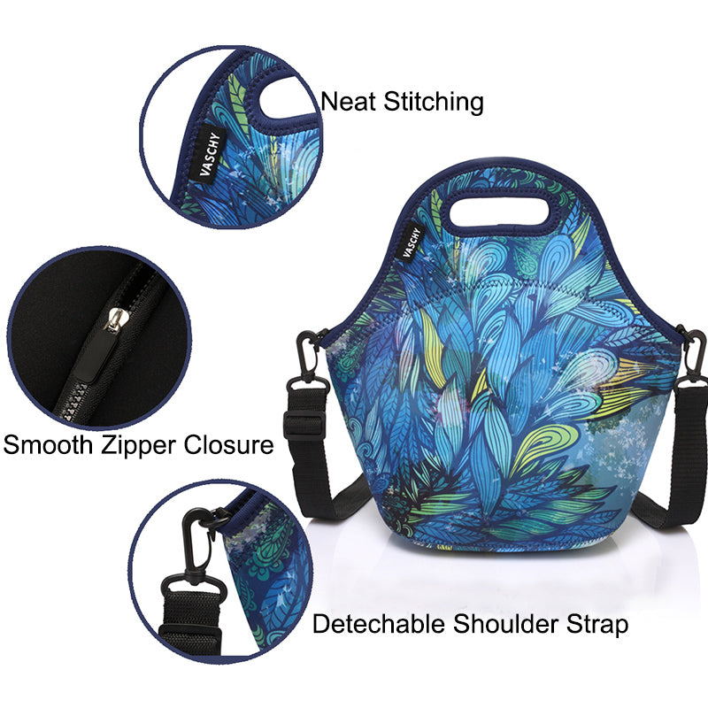 VASCHY Neoprene Insulated Lunch Bag Tote for Men or Women 12.9x13.4x6.3 inch with Detachable Adjustable Shoulder Strap Hand Drawn Feathers