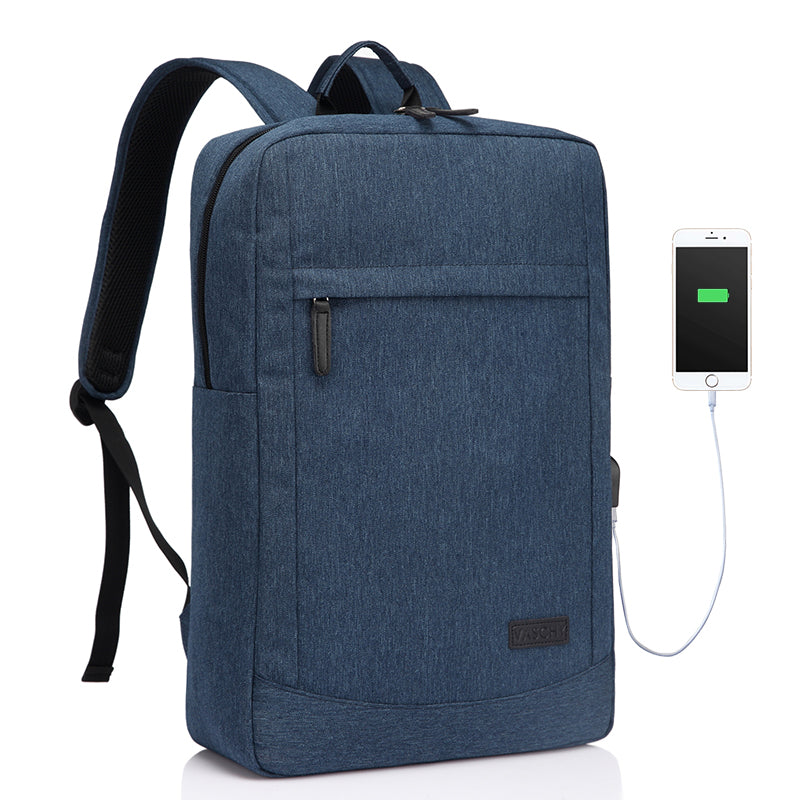 VASCHY 17 inch Business Laptop Backpack With Built-in Charging Cable USB Port Lightweight School Rucksack with Free Waterproof Rain Cover