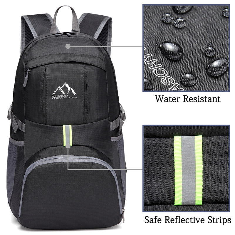 VASCHY Collapsible Lightweight Hiking Backpack Water Resistant Foldable Packable Travel Daypack