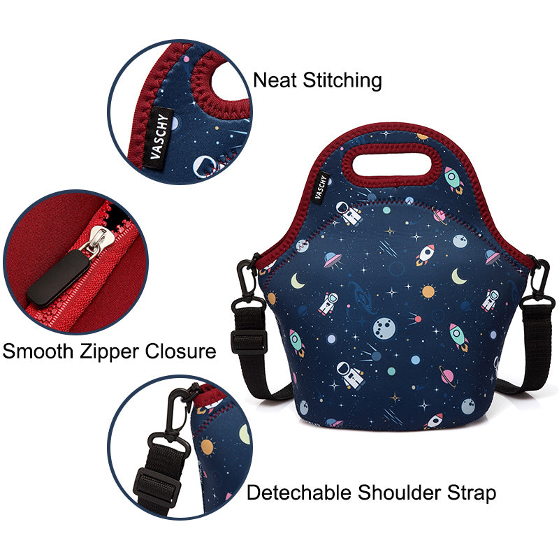 VASCHY Neoprene Insulated Lunch Bag Tote for Men or Women 12.9x13.4x6.3 inch with Detachable Adjustable Shoulder Strap Cute Astronaut