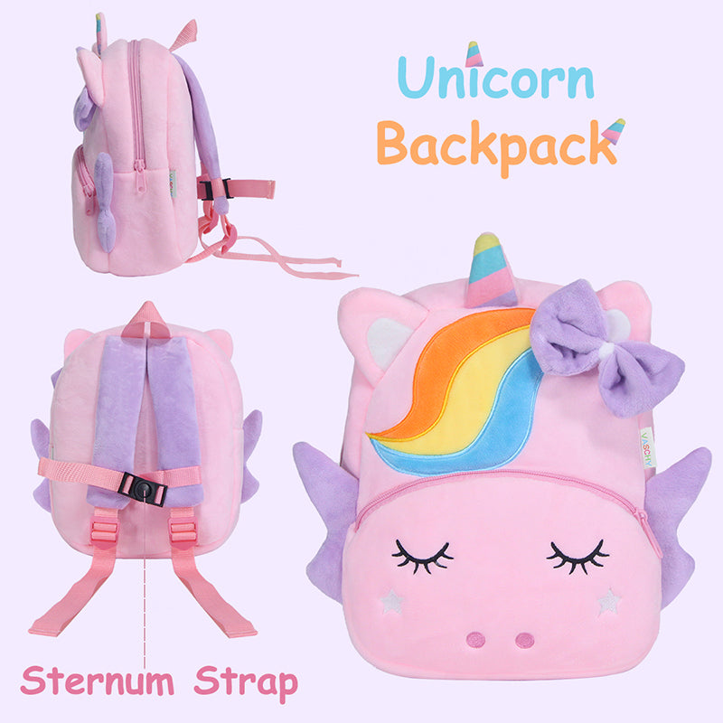 VASCHY 3D Cartoon Plush Children Backpacks Kids Toddler Backpack Kindergarten Schoolbag Girls Boys Unicorn Backpack Purse