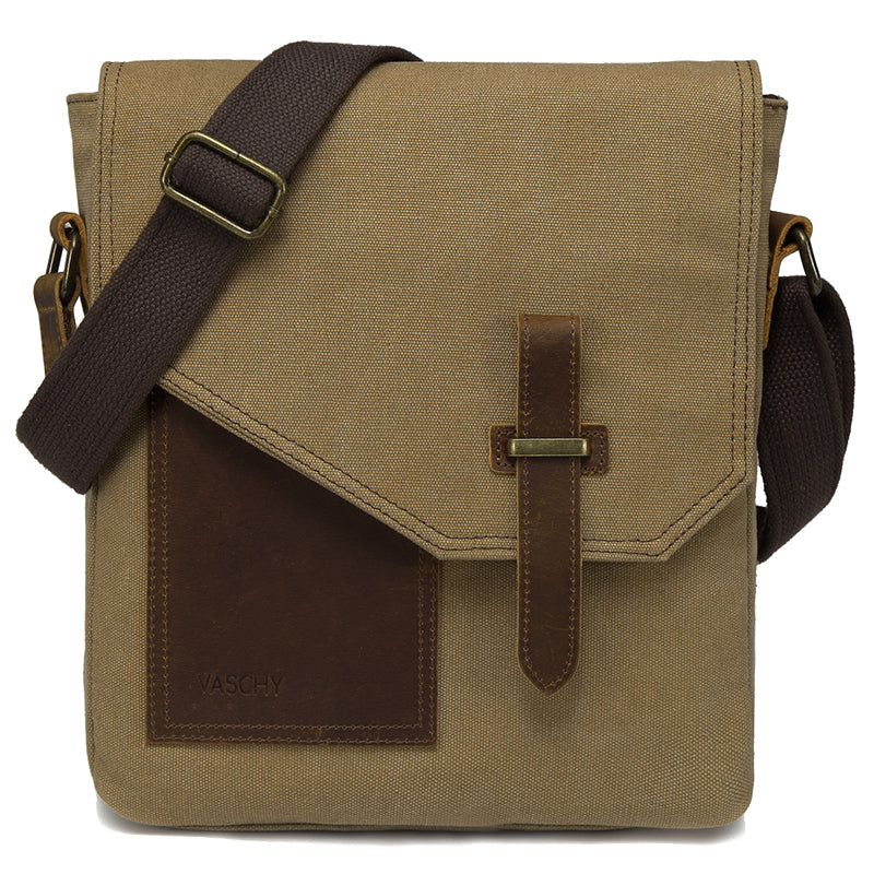 VASCHY Canvas Leather Vintage Small Messenger Bag Lightweight Crossbody Bag
