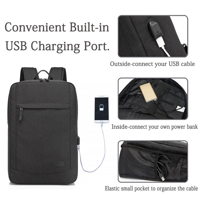 VASCHY Backpack with Built-in Charging Cable