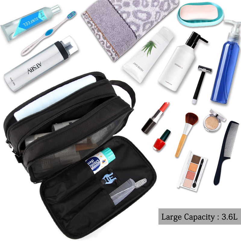VASCHY Waterproof Large Toiletry Bag Travel Kit Case for Makeup, Cosmetic, Shaving with Separate Compartments