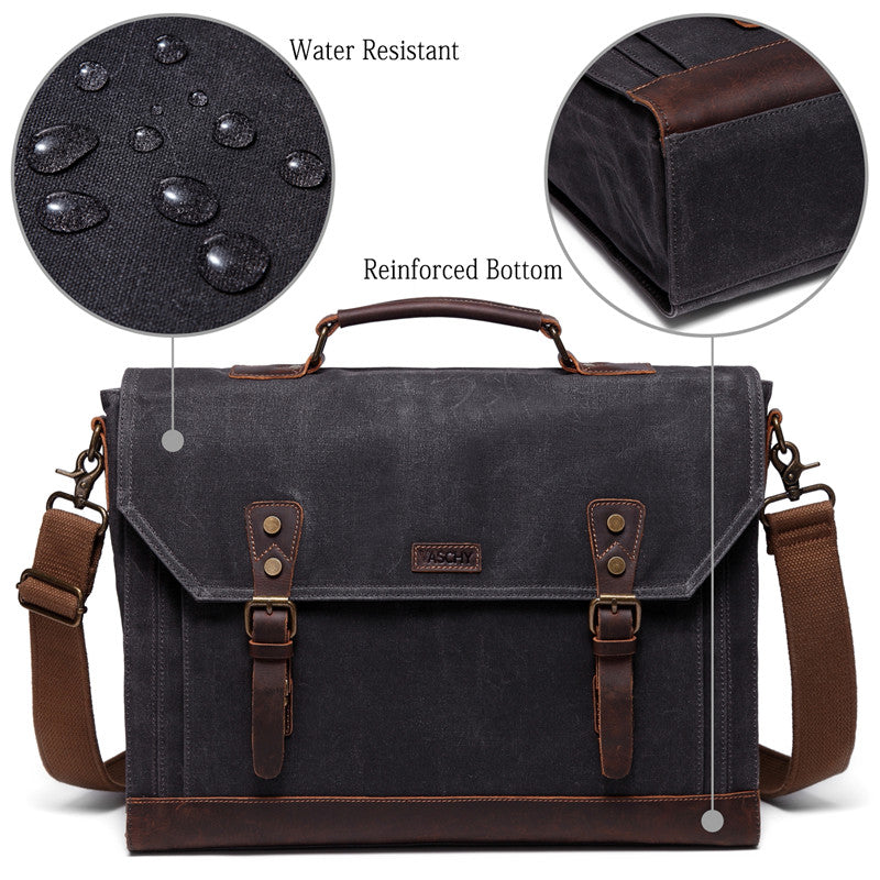 0c9406ecb2a9 VASCHY Vintage Waxed Canvas Leather Messenger bag for men, Water Resis