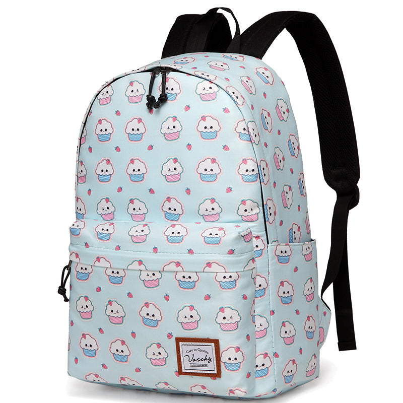 VASCHY Girls Casual School Backpack Cute Lightweight Water-Resistant Daypack Fits 14inch Laptop Ice Cream