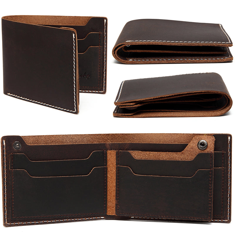 VASCHY Vintage Genuine Leather Men Wallet Bifold Wallet Slimfold with 6 Card Slots Gift Box