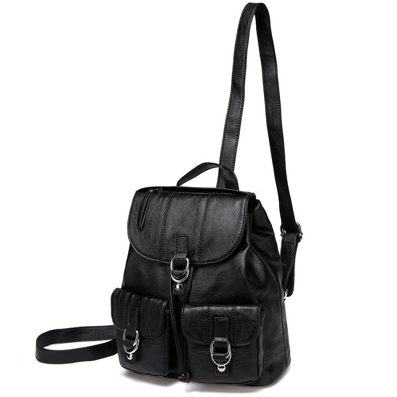VASCHY Faux Leather Fashion Mini Backpack Purse for Women, Buckle Flap Drawstring Backpack for College with Two Front Pockets