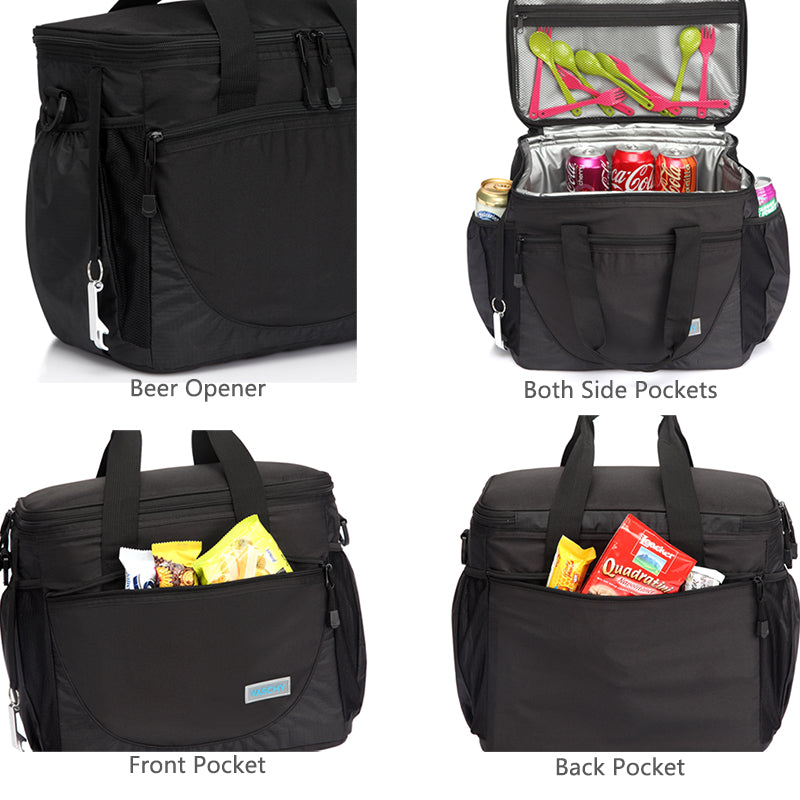 VASCHY Large Cooler Bag Lunch Bag, 30-Can 23L Insulated Leakproof Picnic with Multi-Pockets for Camping, Beach, Travel, Fishing with Detachable Shoulder Strap,Beer Opener