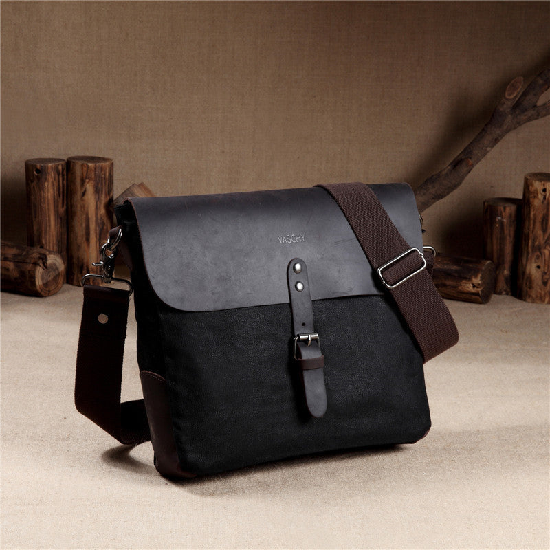 VASCHY Mens Small Waxed Canvas Genuine Leather Messenger Bag Vintage Classic Flap Crossbody Shoulder Bag Gray for iPad