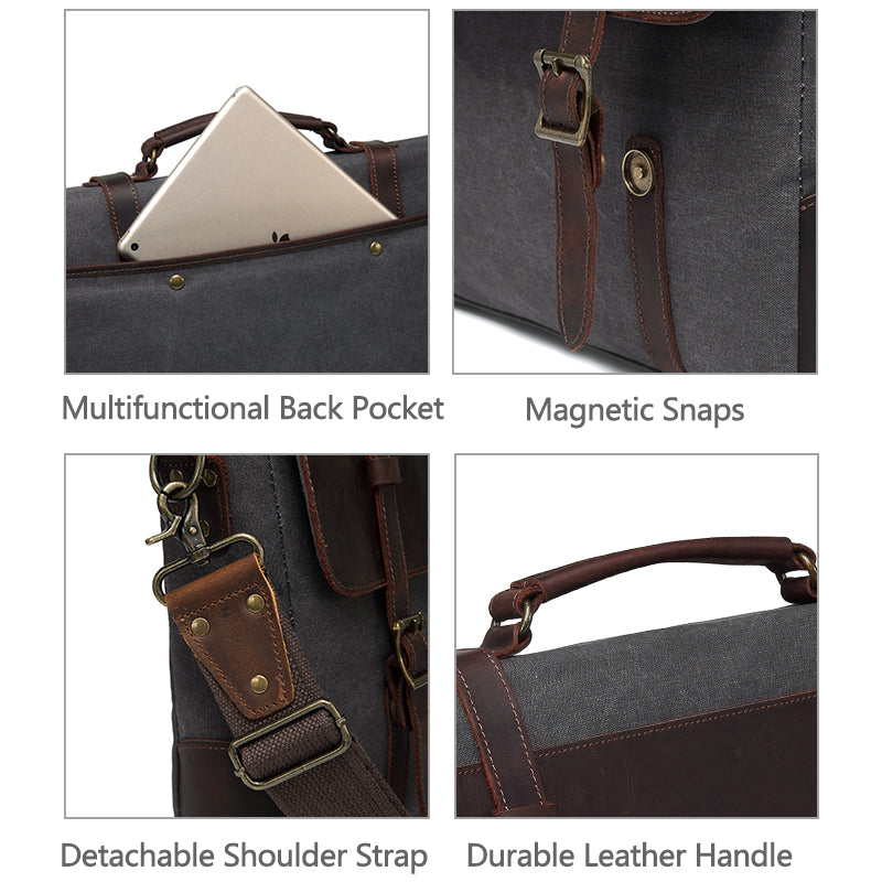 VASCHY Vintage Leather Canvas Messenger Bag Men Business Briefcase Crossbody Satchel Shoulder Bag Fits 15.6inch Laptop