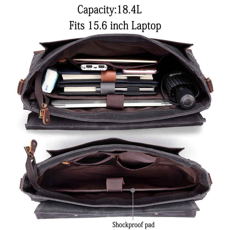 VASCHY Vintage Waxed Canvas Leather Messenger bag for men, Water Resistant Satchel Business Briefcase Shoulder Bag Fits 15.6 inch Laptop