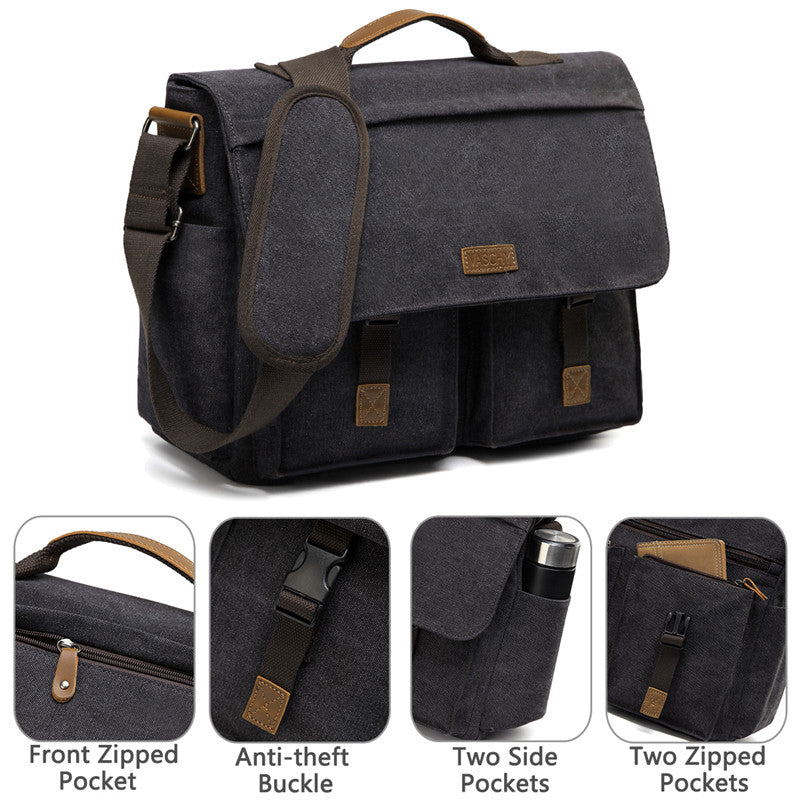 Vaschy Vintage Men Water Resistant Waxed Canvas Satchel Business Briefcase Shoulder Bag with Adjustable Shoulder Strap Fits 15.6 inch Laptop