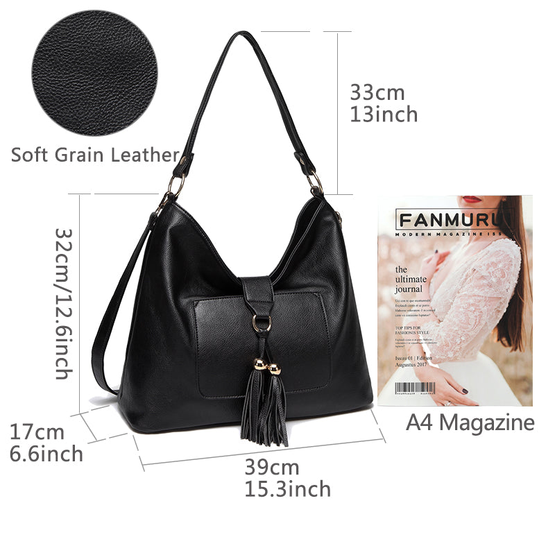 VASCHY SAC Faux Leather Fashion Vintage Women Hobo Bag Tassel Handbag Purse Tote with Detachable Long Shoulder Strap
