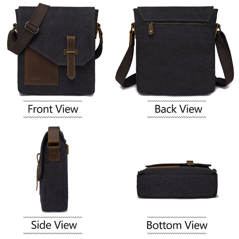 VASCHY Canvas Leather Small Messenger Bag