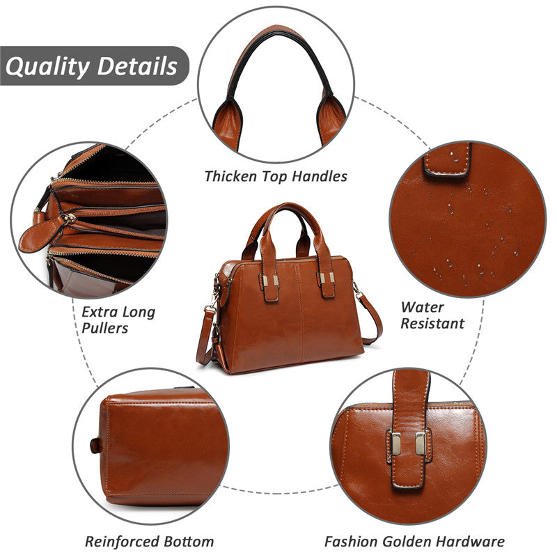 VASCHY Satchel Bag Leather Handbags