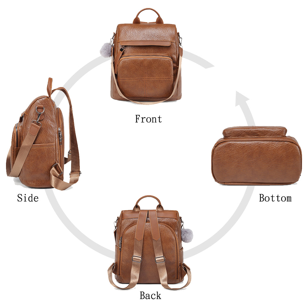 VASCHY Anti-theft Women Backpack Mini Leather Backpack Purse Female Waterproof Shoulder Bags Fashion Bags for Teenage Girls