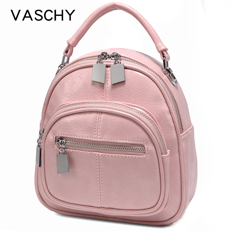 VASCHY Women Mini Backpack Fashion Backpack Shoulder Bag for Teenage Girl Children Ladies Solid Color School Backpack Travel Bag