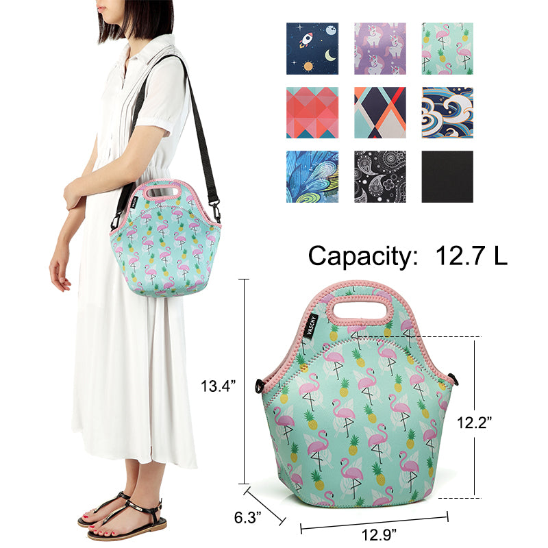 VASCHY Neoprene Insulated Lunch Bag Tote for Men or Women 12.9x13.4x6.3 inch with Detachable Adjustable Shoulder Strap Cute Flamingos