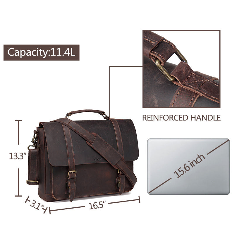 VASCHY Vintage Genuine Leather Satchel Messenger Bag Satchel for Men, Handmade Distressed Briefcase Shoulder Bag Fits 15.6 inch Laptop with Detachable Strap