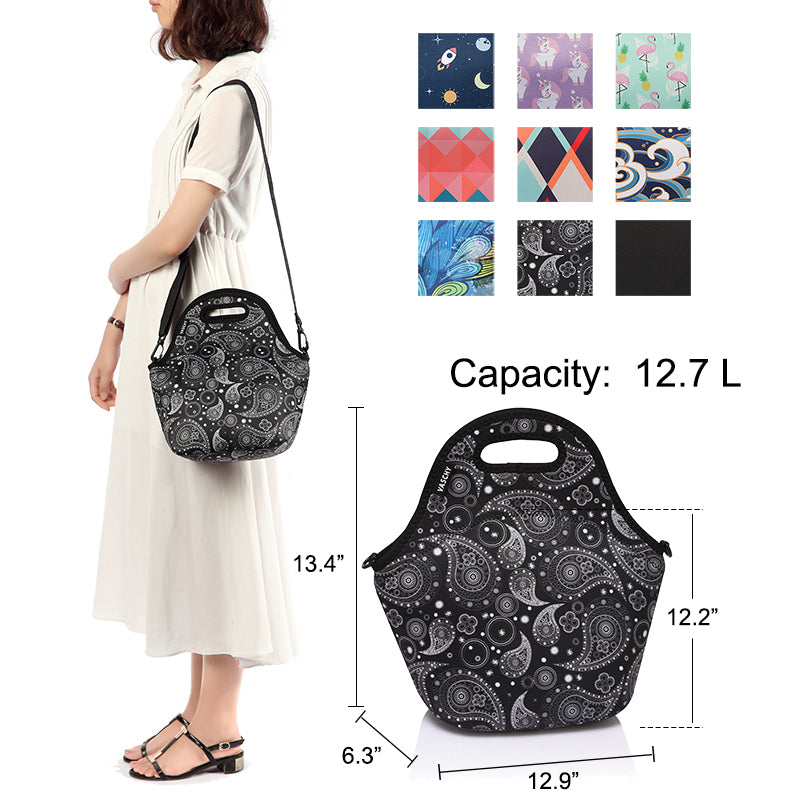 VASCHY Neoprene Insulated Lunch Bag Tote for Men or Women 12.9x13.4x6.3 inch with Detachable Adjustable Shoulder Strap  Paisley Clover