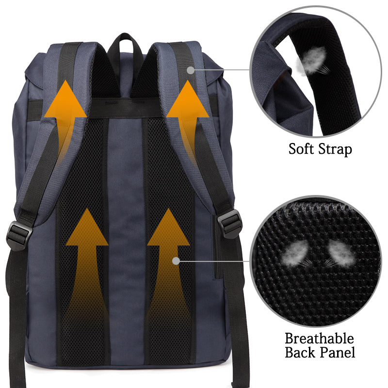 VASCHY Color-block Vintage Backpack Casual Water-resistant School Backpack Casual Daypack Rucksack with Drawstring for College Fits 15.6inch Laptop