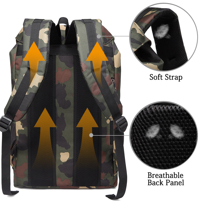 VASCHY Camouflage Vintage Backpack