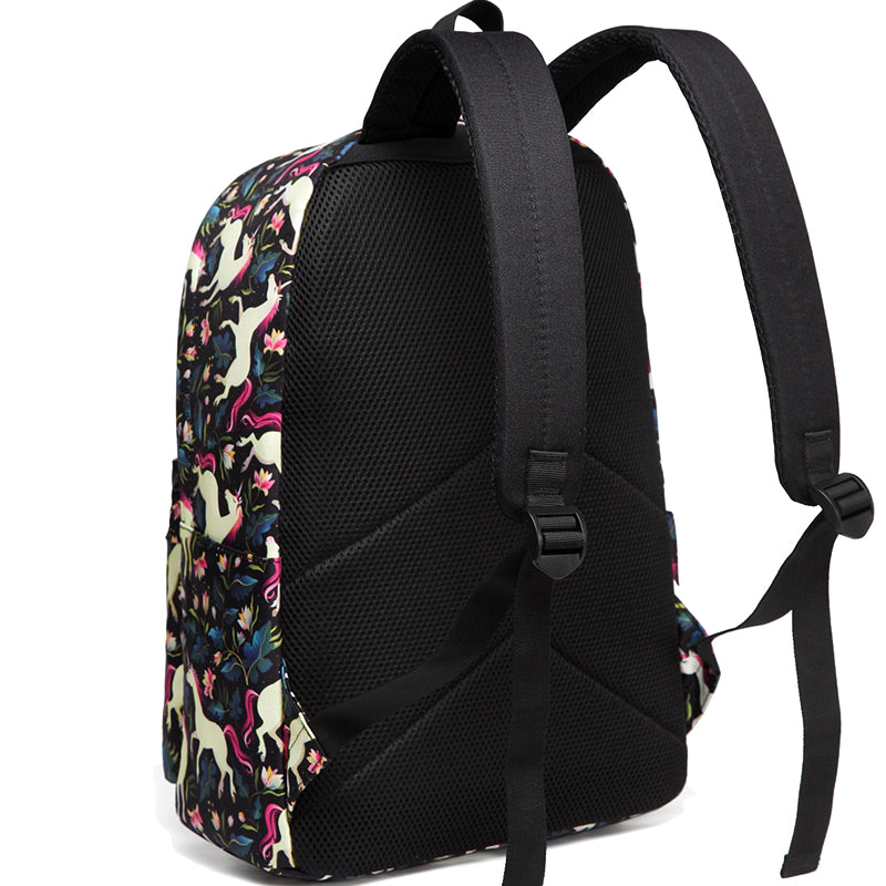 VASCHY Girls Casual School Backpack Cute Lightweight Water-Resistant Daypack Fits 14inch Laptop Black Unicorn