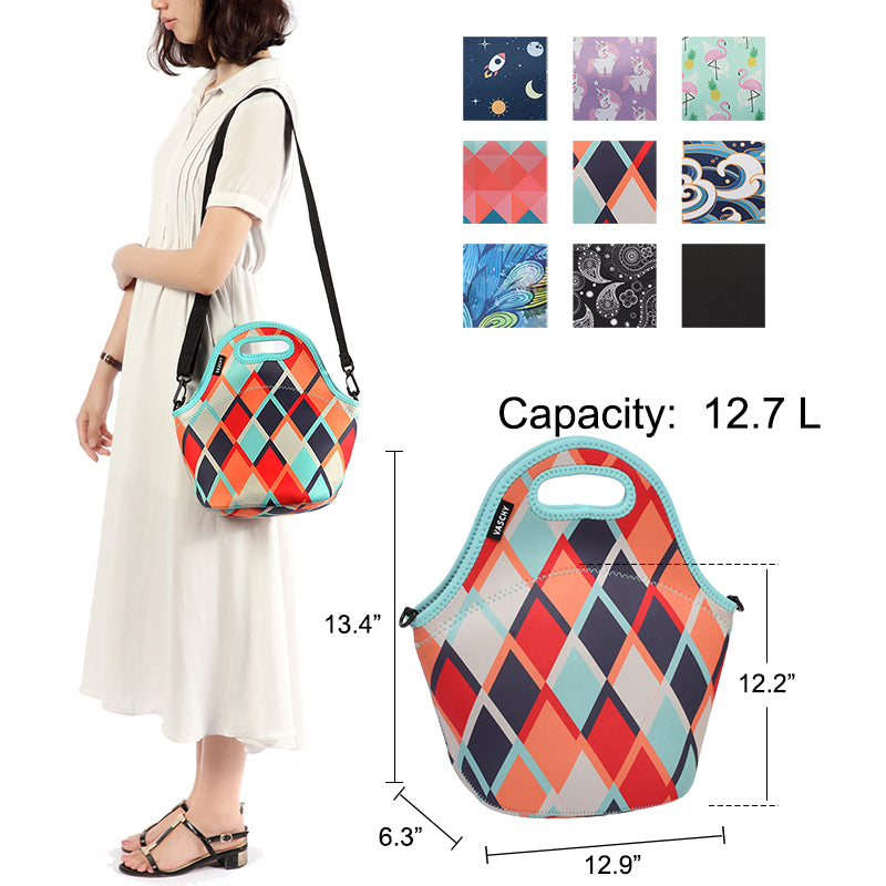 VASCHY Neoprene Insulated Lunch Bag Tote for Men or Women 12.9x13.4x6.3 inch with Detachable Adjustable Shoulder Strap Retro Rhombus