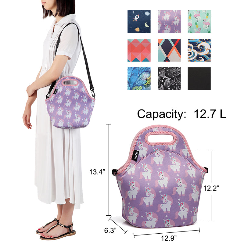 VASCHY Neoprene Insulated Lunch Bag Tote for Men or Women 12.9x13.4x6.3 inch with Detachable Adjustable Shoulder Strap Pink Unicorn
