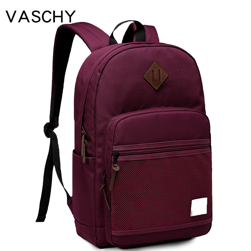 VASCHY Water Resistant 15.6inch Laptop Daypack Lightweight Casual School Backpack with Mesh Front Pocket for Men and Women