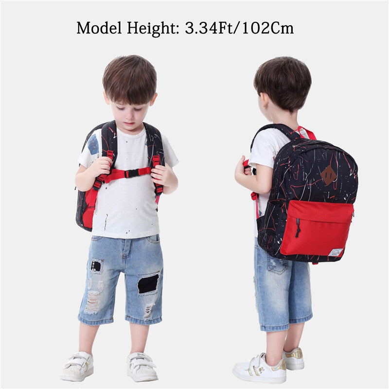 VASCHY Preschool Backpack for Kindergarten Little Boys with Chest Strap Black and Red