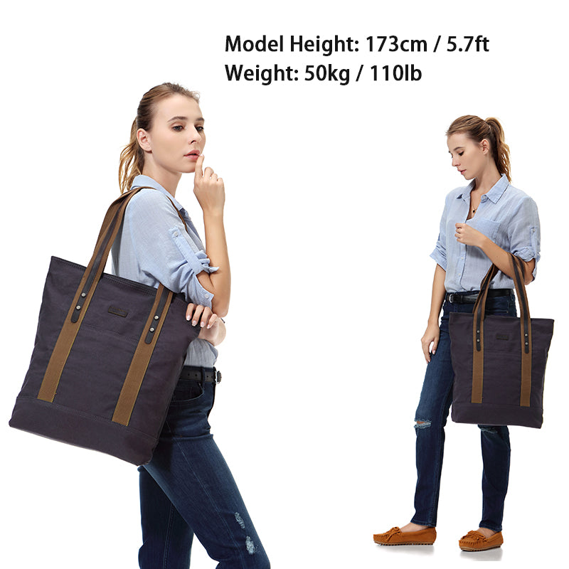 VASCHY Women Canvas Tote Bag Large Vintage Shopper Travel Tote Wok Bag with Leather Trim Strap fits 15.6inch Laptop