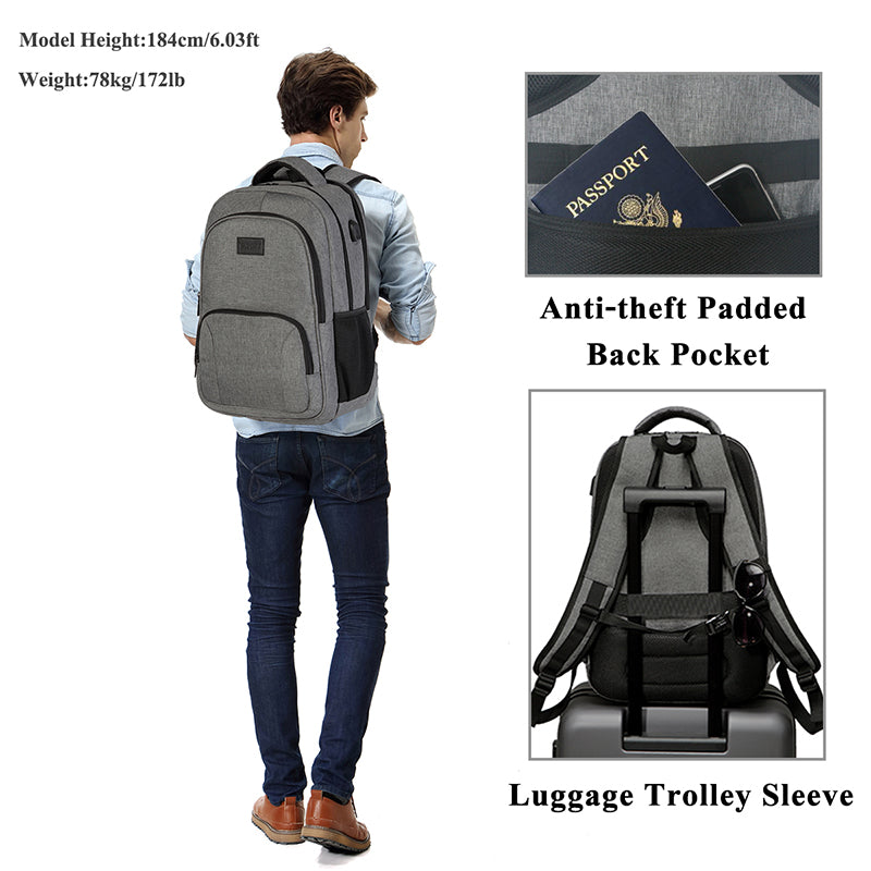 VASCHY Laptop Backpack Women Men School Bags Travel Backpack for College Student Water-resistant School Backpack with USB Charge