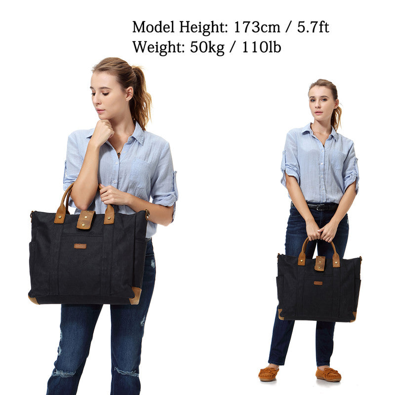 VASCHY Water Resistant Waxed Canvas Leather Laptop Bag for Woman Vintage  Tote Work Bag Fits 15.6 inch Laptop with Detachable Shoulder Strap