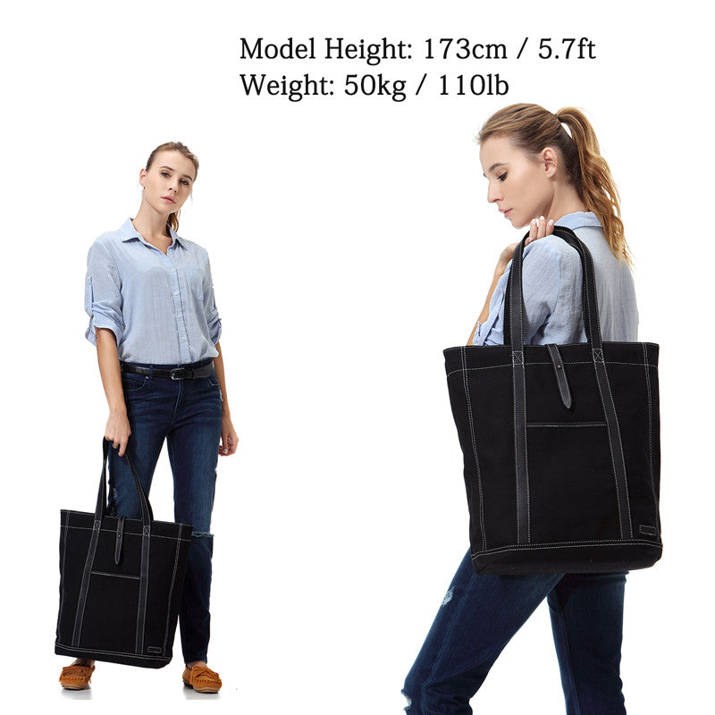 VASCHY Women Large Canvas Tote Vintage Leather Shopper Work Tote Bag Fits 15.6inch Laptop