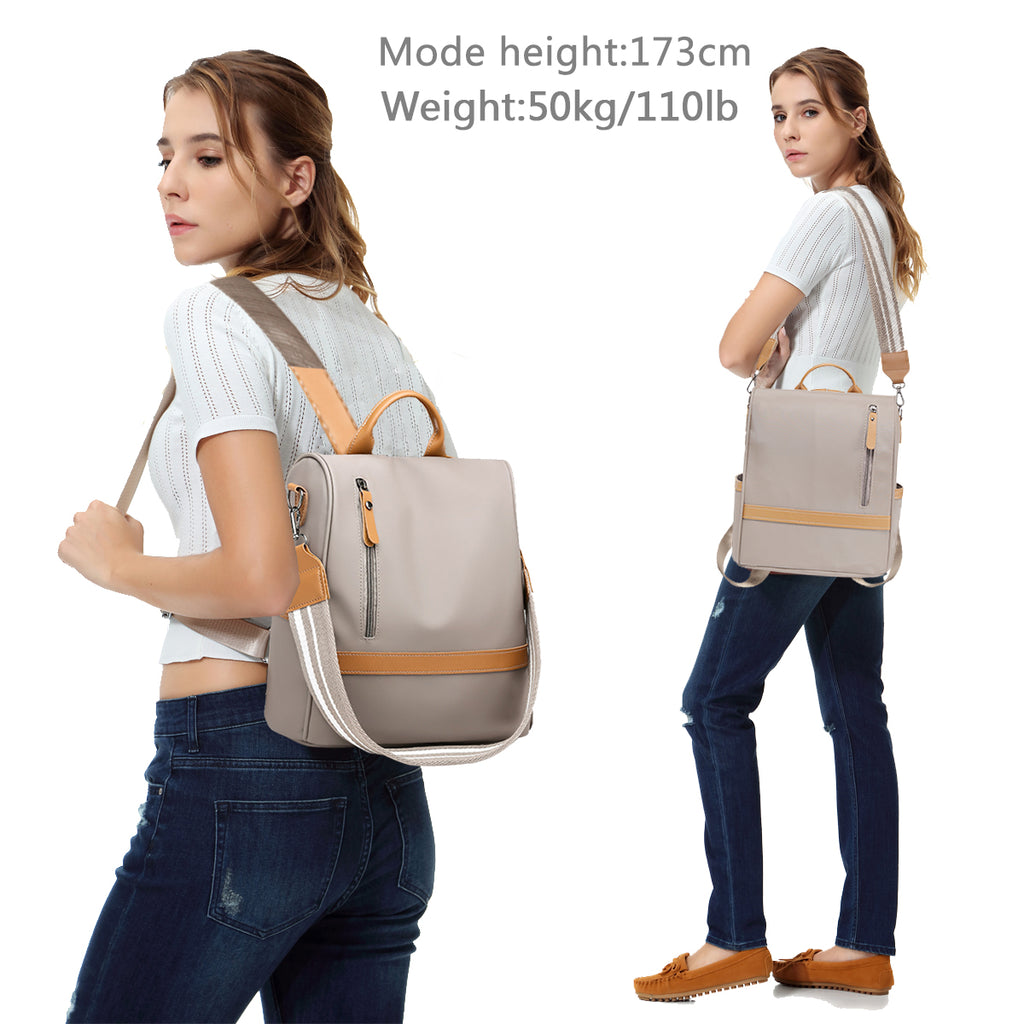 VASCHY Women Anti-theft Backpack Purse Nylon Shoulder Bags Large Capacity Backpack Female Mini Bags Rucksack
