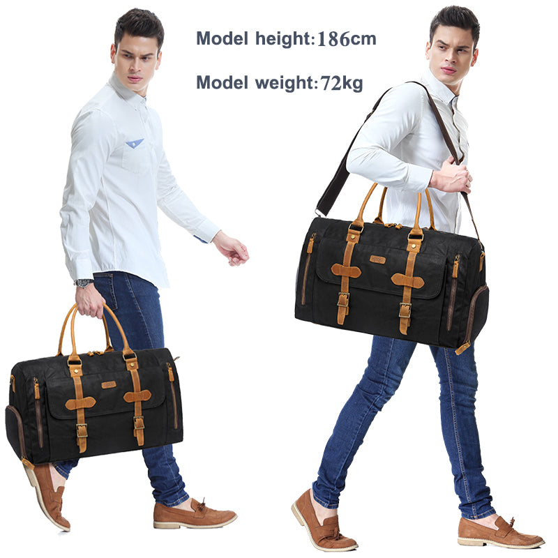VACHY Canvas Large Duffel Bag Leather Canvas Duffle Tote Weekend Carry-on Holdall Baggage Sports Travel Bag with Shoe Compartment