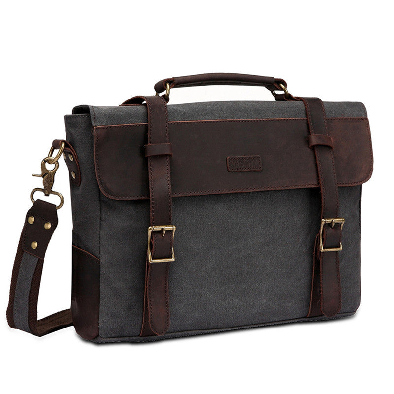 VASCHY Vintage Canvas Leather Messenger Bag for Men, School Shoulder Bag Business Briefcase Satchel Fits 14inch Laptop