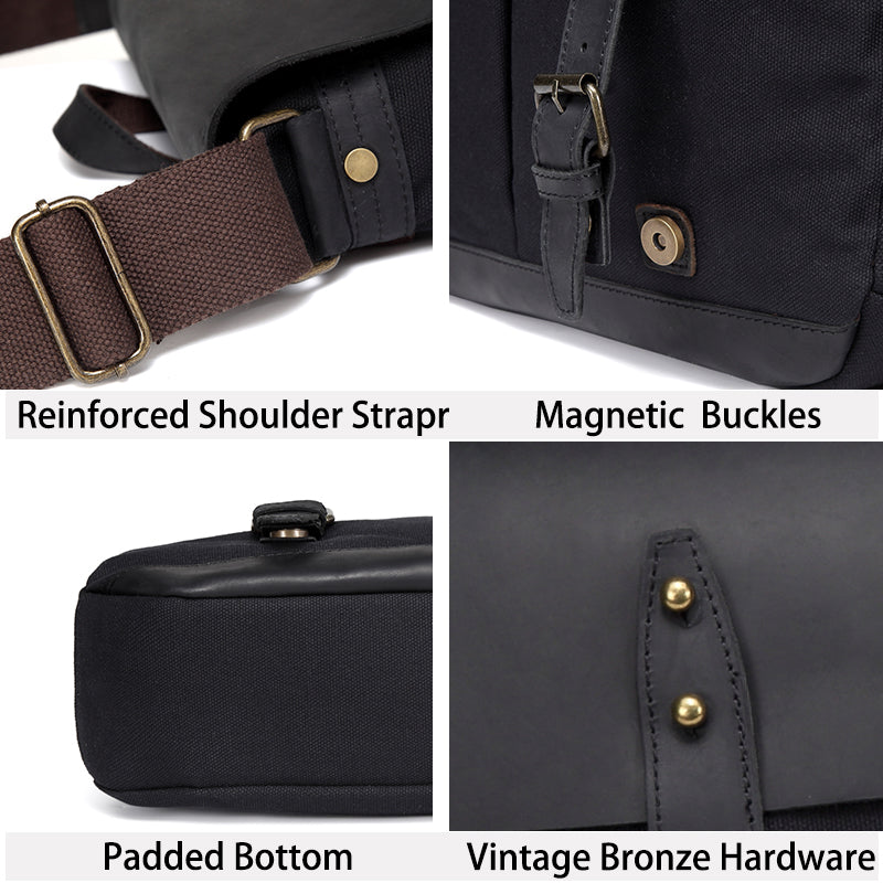 VASCHY Men Black Vintage Leather Messenger Bag