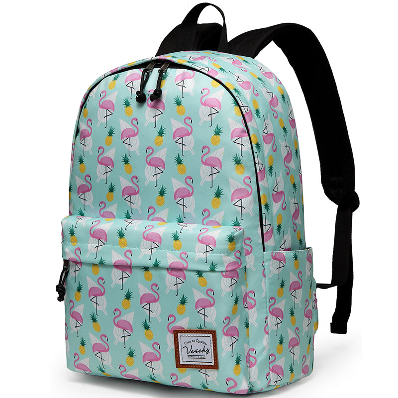 VASCHY Girls Casual School Backpack Cute Lightweight Water-Resistant Daypack Fits 14inch Laptop Cute Flamingos