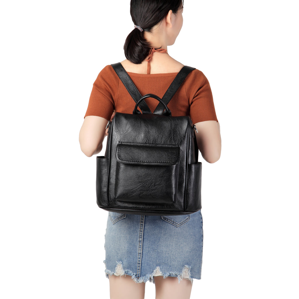 VASCHY Vintage Women Backpack Purse Anti Theft PU  Leather Convertible Shoulder Bags for Girls