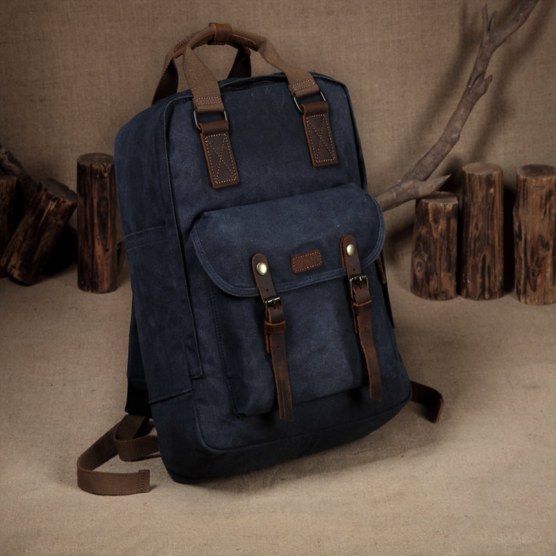 Vintage Waxed Canvas Laptop Backpack for Men