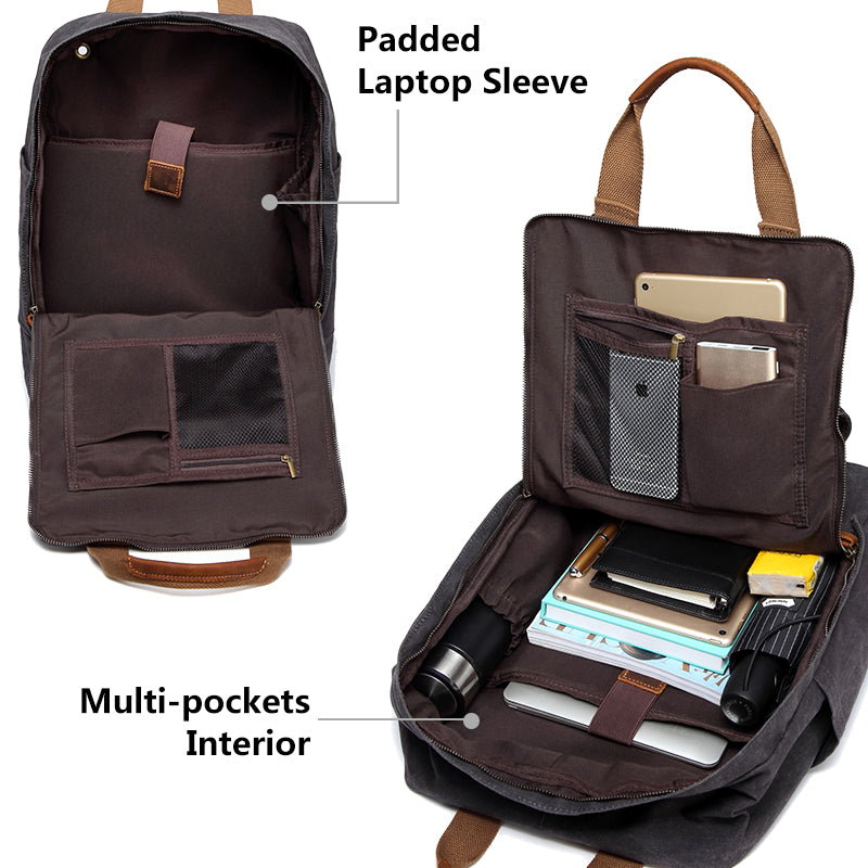 d52c6999b654 VASCHY Vintage Waxed Canvas Laptop Backpack for Men Anti-theft Rucksac