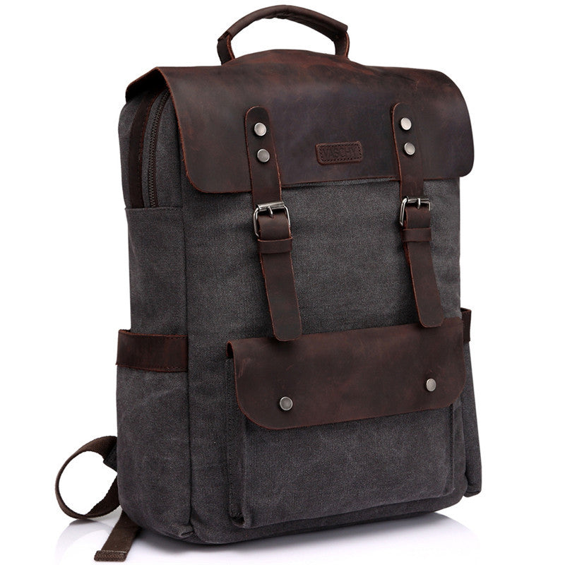 63de55f2b5bc VASCHY Leather Canvas Laptop Backpack for Men and Women, Casual Campus