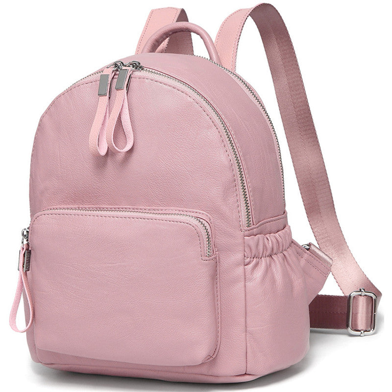 VASCHY Faux Leather Mini Backpack Purse Cute Small Backpack Purse for Women and Teen Girls with Double Compartment
